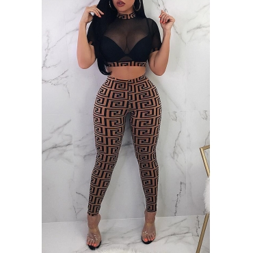 Lovely Casual O Neck Printed See-through Brown Two-piece Pants Set