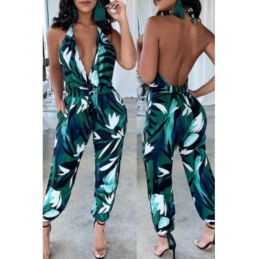 Lovely Sexy V Neck Printed Backless Green One-piece Jumpsuit