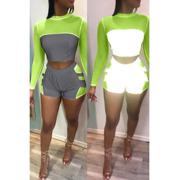 Lovely Casual O Neck Patchwork Green Two-piece Shorts Set