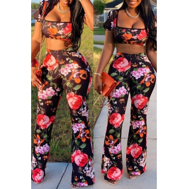 Lovely Casual Floral Printed Black Two-piece Pants Set