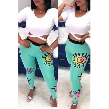 Lovely Casual Hollow-out Printed Blue Two-piece Pants Set