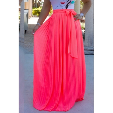 Lovely Trendy Bow-Tie Rose Red Floor Length Skirt