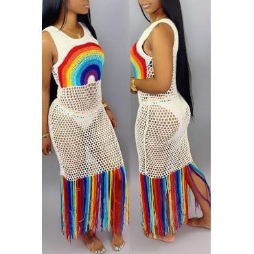 Lovely Casual Tassel Design Patchwork White Beach Dress