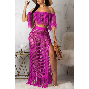 Lovely Off The Shoulder Tassel Design Rose Red Cover-up(Top+Bottoms)