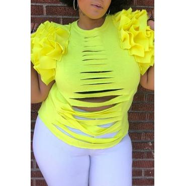 Lovely Casual Broken Holes Yellow T-shirt
