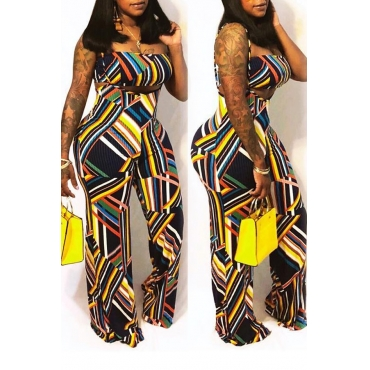 Lovely Sexy Spaghetti Straps Printed Multicolor Two-piece Pants Set