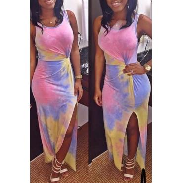 Lovely Casual Tank Sleeveless Tie-dye Multicolor Ankle Length Dress
