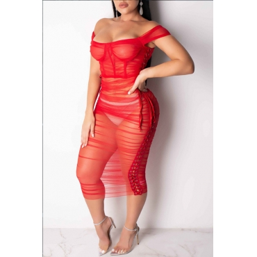 Lovely Sexy See-through Red Gauze Ankle Length A Line Dress