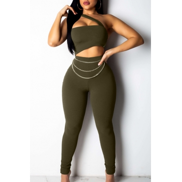 Lovely Sexy One Shoulder Hollow-out Army Green One-piece Jumpsuit