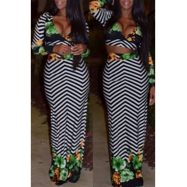 Lovely Chic V Neck Striped Printed Black-white Two-piece Skirt Set