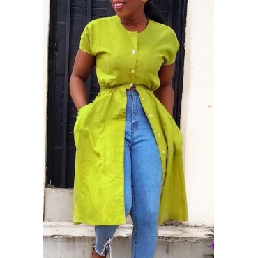 Lovely Casual O Neck Buttons Design Light Green Blouse