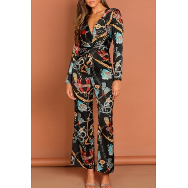 Lovely Bohemian V Neck Printed Multicolor One-piece Jumpsuit