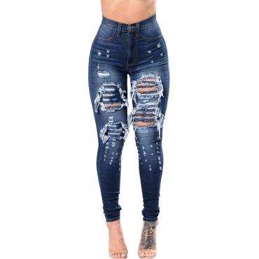 Lovely Stylish High Waist Broken Holes Deep Blue Jeans