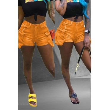 Lovely Chic Pockets Design Orange Shorts