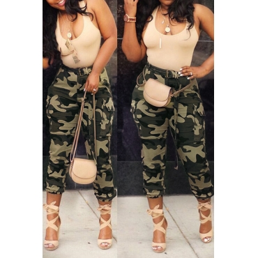 Lovely Casual High Waist Camouflage Printed Army Green Cotton Pants