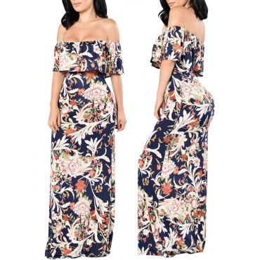 Lovely Casual Off The Shoulder Printed Floor Length A Line Dress