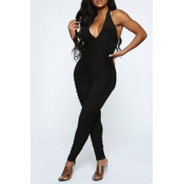 Lovely Sexy Halter Neck Black One-piece Jumpsuit