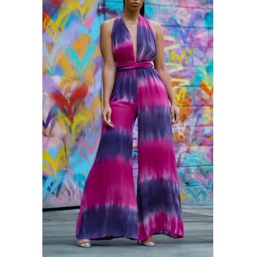 Lovely Sexy Deep V Neck Tie-dye Purple One-piece Jumpsuit