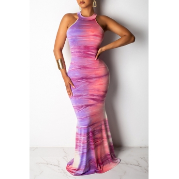 Lovely Casual O Neck Printed Hollow-out Pink Floor Length Dress