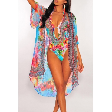 Lovely Halter Neck Printed Hollow-out Blue One-piece Swimwear(With Shawl)
