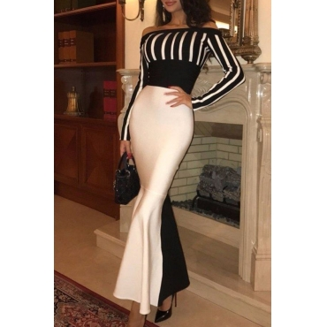 Lovely Elegant Off The Shoulder Black-white Striped Floor Length Dress