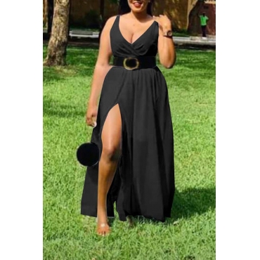 Lovely Stylish V Neck Side Split Black Ankle Length Dress(With Belt)