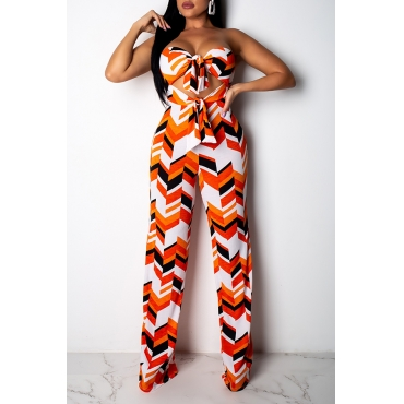 Lovely Sexy Printed Hollow-out Orange One-piece Jumpsuit