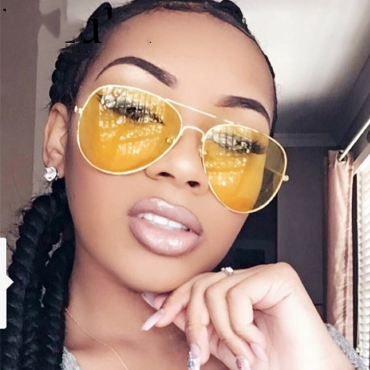 Lovely Stylish Hollow-out Yellow PC Sunglasses