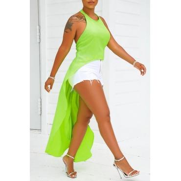 Lovely Trendy Asymmetrical Green T-shirt