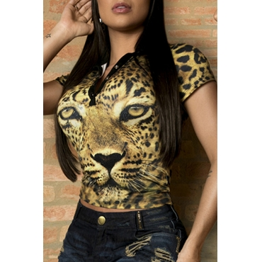 Lovely Casual Leopard-head Printed Yellow T-shirt