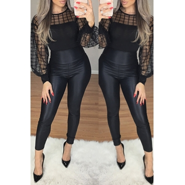 Lovely Stylish Gauze Patchwork Black Blouse
