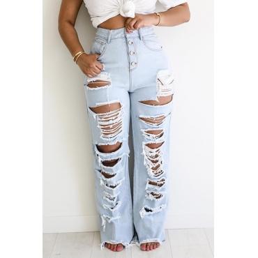 Lovely Trendy Broken Holes Baby Blue Jeans