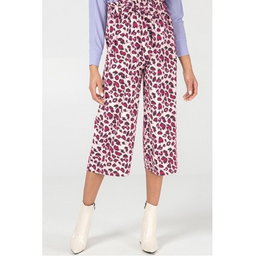 Lovely Stylish High Waist Leopard Printed Red Pants