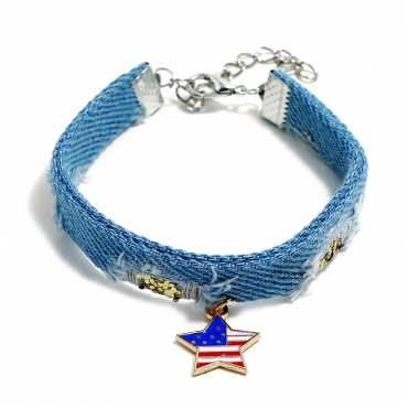 Lovely Independence Day Fashion Patchwork Blue Alloy Bracelet