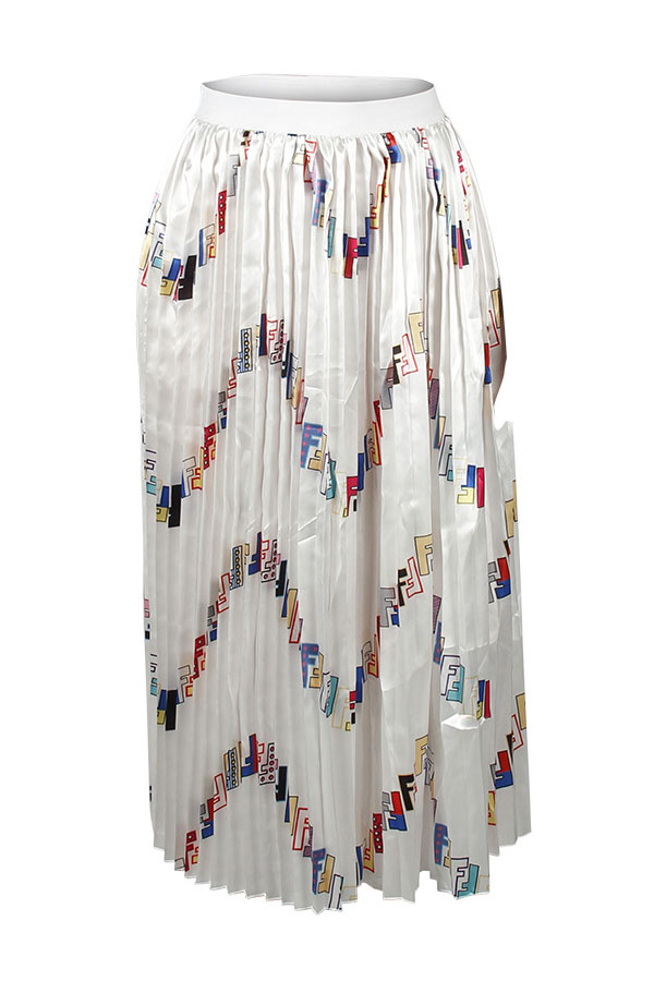 Lovely Stylish Letter Printed White Chiffon Ankle Length A Line Skirt