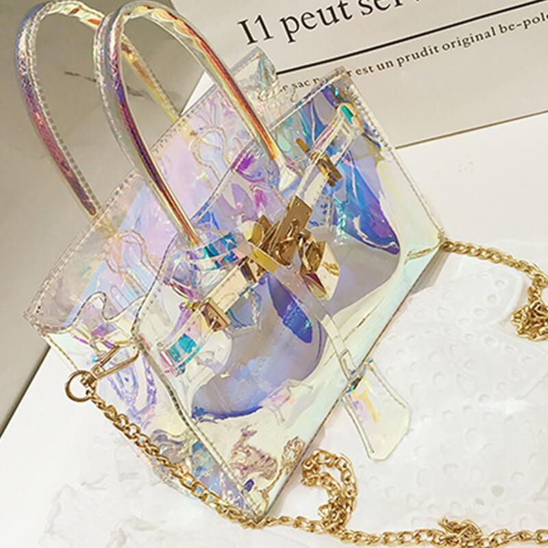 Lovely Fashion See-through Baby Blue PU Crossbody Bag