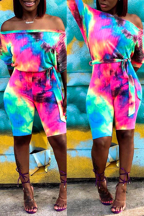 Rompers Lovely Casual Off The Shoulder Tie-dye Printed Multicolor One-piece Romper фото