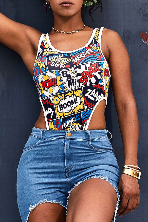 Lovely Casual Letter Printed Multicolor Bodysuit