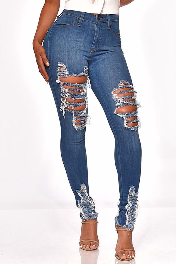 Lovely Stylish Broken Holes Deep Blue Jeans
