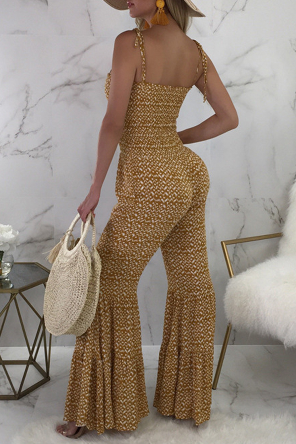 Lovely Casual Spaghetti Straps Printed Yellow One-piece Jumpsuit