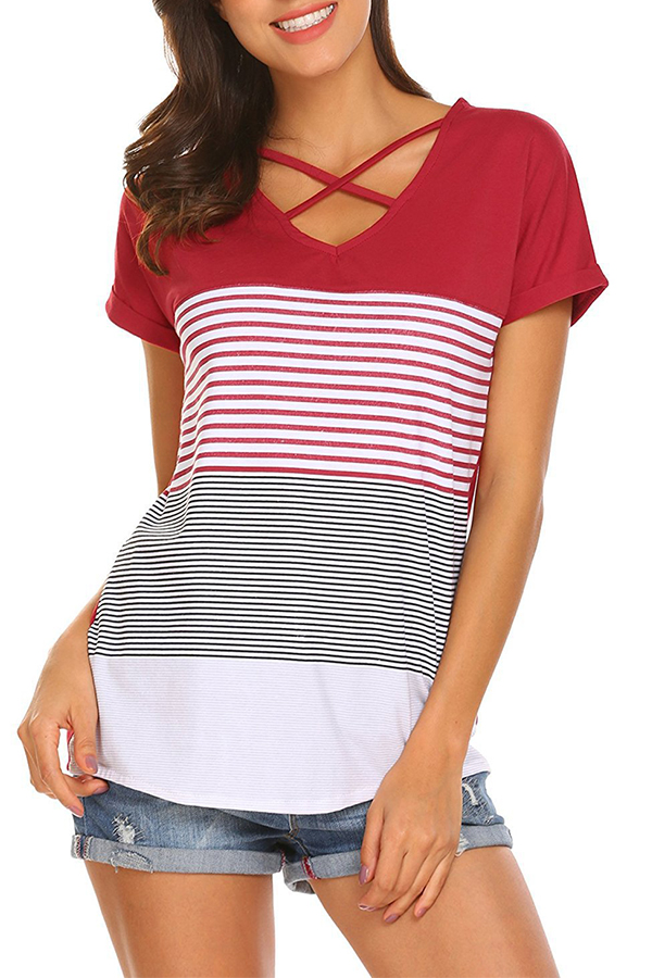 Lovely Casual V Neck Striped Hollow-out Red T-shirt