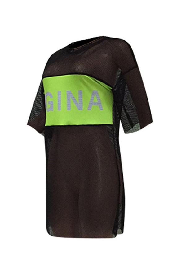 Lovely Casual O Neck Mesh Letter Printed Black Mini Dress