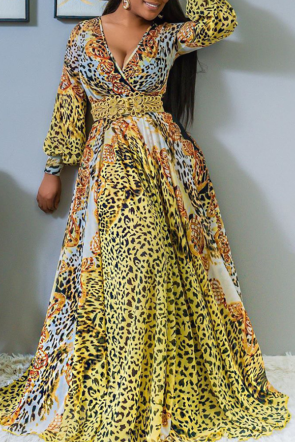 Dress Lovely Casual V Neck Animal Pattern Printed Yellow Floor L