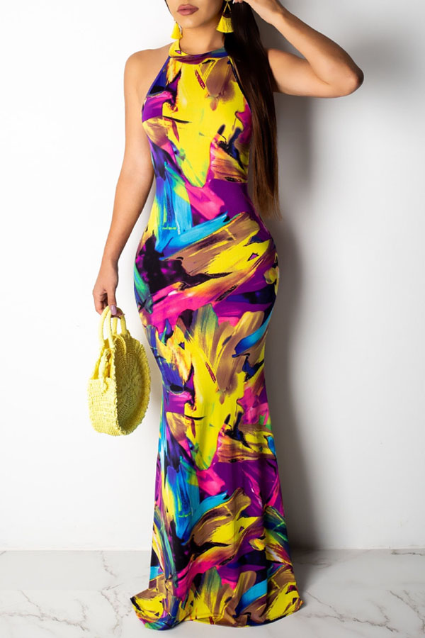 Lovely Casual O Neck Printed Hollow-out Multicolor Floor Length Dress