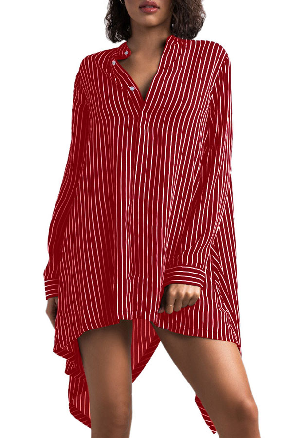 Lovely Stylish O Neck Striped Asymmetrical Red Knee Length Dress