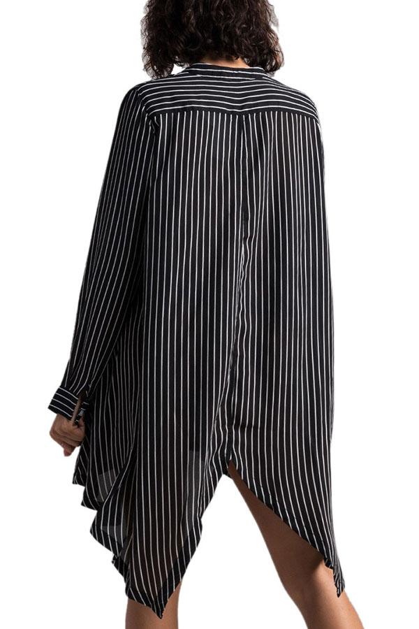 Lovely Stylish O Neck Striped Asymmetrical Black Knee Length Dress