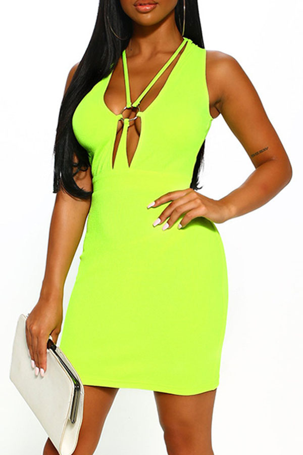 Lovely Sexy Hollow-out Green Mini Dress