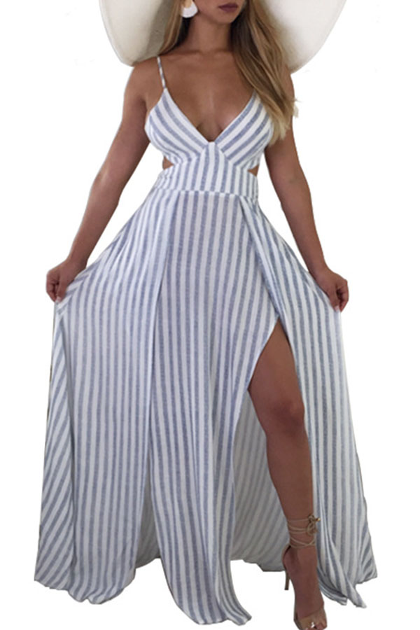 Lovely Sexy V Neck Striped Hollow-out Blue Floor Length A Line Dress