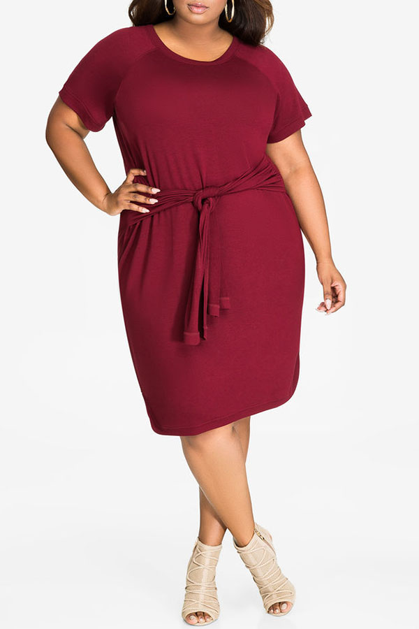 Lovely Casual O Neck Bandage Wine Red Cotton Knee Length Dress