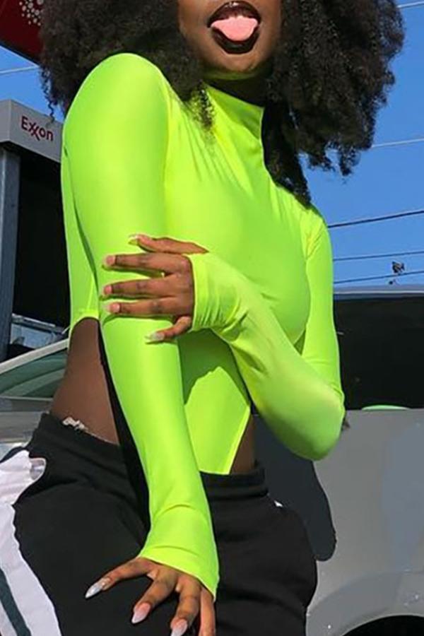 Lovely Casual O Neck Long Sleeve Green Bodysuit